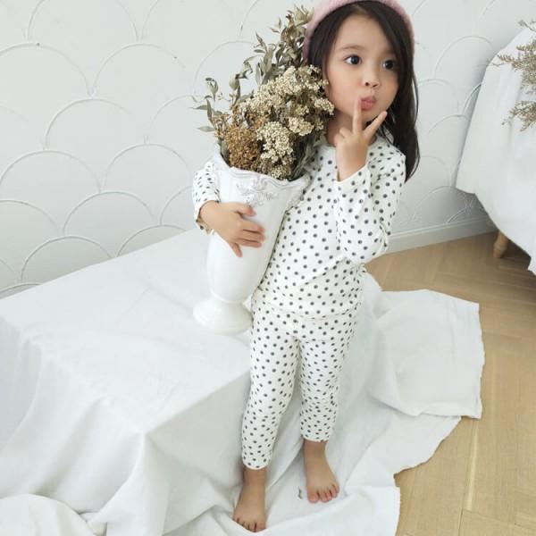 Cute flower printed girls cotton lounge pajamas