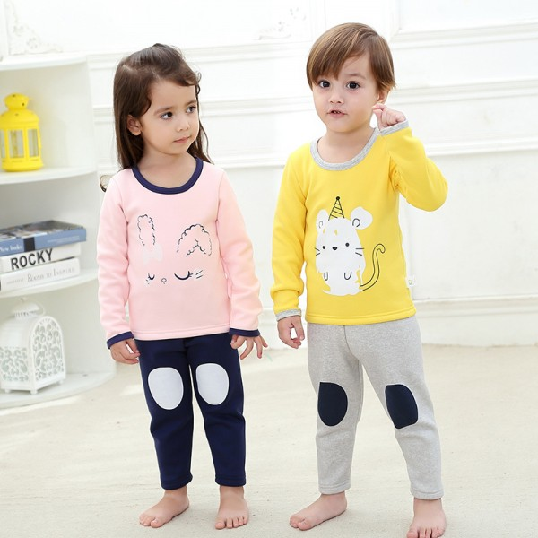 Fall / Winter Children's Furring and Thickening Thermal Pajama Set